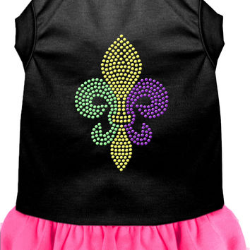 Mardi Gras Fleur De Lis Rhinestone Dress Black with Bright Pink XS (8)