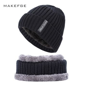 Winter new man's knit cotton caps warm velvet thick skull for men's solid color ski mask ladies Beanies male Scarf, Hat & Glove