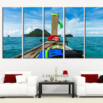 Large Wall Art Tropical Island and Boat Canvas Painting - Great Landscape and Large Canvas Art Print | Ready Hanging