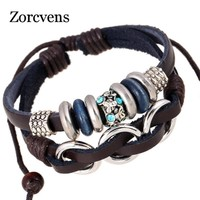 ZORCVENS Men Women Punk Leather Rope Bracelet Handmade Punk Design Crystal Charm Leather Bracelets & Bangles