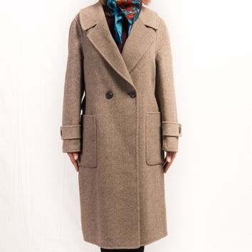 Beige Cashmere & Wool Notched Lapel Two-Button Straight Pocket with Back Belt Coat