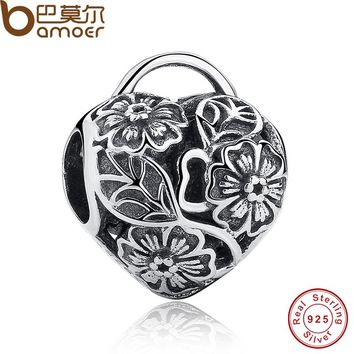 Openwork Flower Floral Heart Padlock Beads Charms Fit Original Bracelet Necklace Pure 925 Sterling Silver PAS122