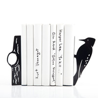 Bookends - Woodpecker - laser cut for precision these metal bookends will hold your favorite books