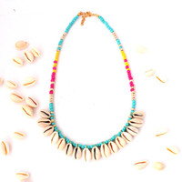 Sea shell necklace ,boho necklace ,bohemia necklace ,colorful necklace ,statement necklace ,beaded necklace,schelp ketting
