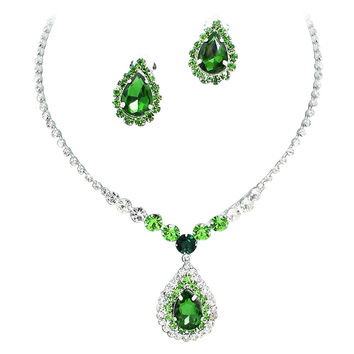 Stunning Y Drop Clip on Emerald Jade Green Crystal Bridal Necklace Bridesmaids E4