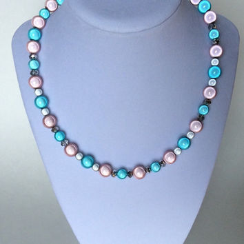 Aqua, Pink, White & Crystal Miracle Beaded Necklace, Glowing Beaded Necklace, Pretty, Contemporary, Modern, Dressy, Glam, Glitzy, Simple