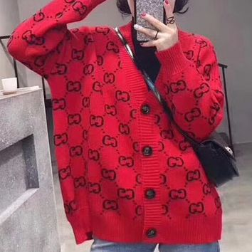 GUCCI spring new double G letter sweater women's cardigan F0462-1 Red