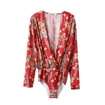 Women low cut V neck shirts sexy bodysuit long sleeve playsuit sweet floral blouse elastic waist streetwear casual tops