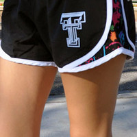 Women's Black w/ Paint Splatter Athletic Shorts