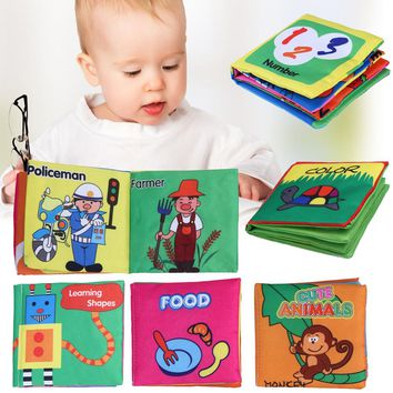 6 Patterns Baby Toy Soft Cloth Books Rustle Sound Infant Educational Stroller Rattle Toy Newborn Crib Bed Baby Toys 0-36 month