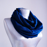 Handmade Herringbone Infinity Scarf - Jersey - Navy Blue Black - Winter Autumn Scarf - Men Unisex Scarf