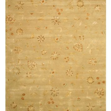 EORC Hand-tufted Wool & Viscose Green Transitional Floral Modern Floral Rug