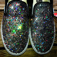 HOLOGRAPHIC SILVER rainbow glitter VANS slip on crystal multicolor costume black shoes any size