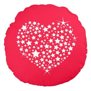 Red And White Glitter Heart Round Pillow