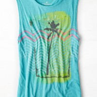 AEO Women's Tropic Graphic Muscle Tank (Tropical Teal)