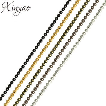 XINYAO 10m/lot 1.2 1.5 2 mm Gold/Black Color Metal Ball Bead Chains Bulk for Diy Bracelet Necklace Jewelry Findings Making F680