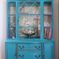 Teal Vintage China Cabinet by LaVantteHome on Etsy