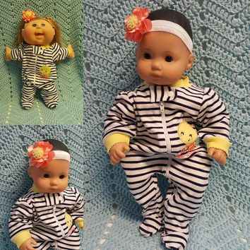 "Baby Doll Clothes to fit 15 inch baby doll ""Bee-Dutiful"" doll outfit with sleeper and headband hair clip Bee bumble bee"