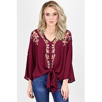 Sweet Florals Embroidery and Tie Front Blouse {Burgundy}