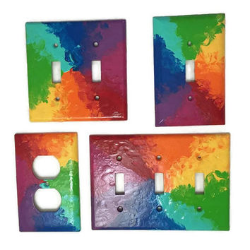 Rainbow hand painted light switch plate - Beach Ball Rainbow - Custom Size - Outlet or faceplate