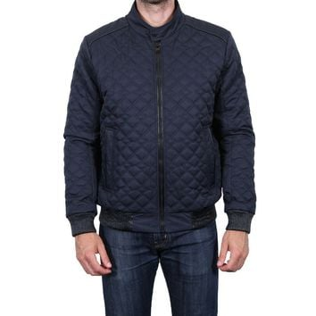 Tahari Men's Faux Leather Trim Quilted Bomber Jacket, Midnight, Size XXL
