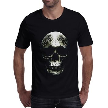 3d printed casual skull t-shirts male cotton tees