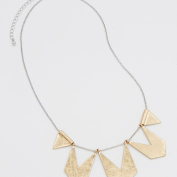 mixed metal triangular statement necklace | maurices