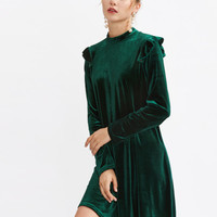 Mock Neck Frill Detail Velvet Dress -SheIn(Sheinside)
