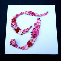 Custom Floral Letter Monogram on Canvas  - Paper Flower Initial in Your Choice of Colors and Letters on Canvas