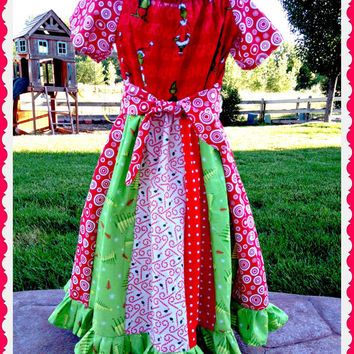 girls custom Christmas The Grinch Dress boutique stripwork Imperial Peasant dress with bow size 6 7 8 ready to ship