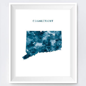 Connecticut Map, Art Print, Watercolor, Hartford Print, Wall Art, CT Poster, Painting, Travel Poster Home Office Decor Gift Digital Download