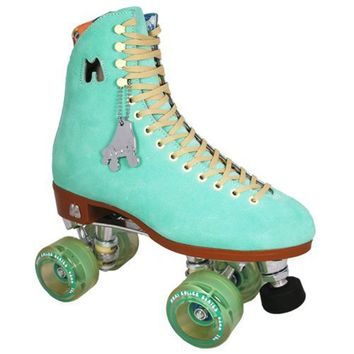 Riedell Moxi Teal Suede Outdoor Skates - Moxi Lolly Floss Outdoor Roller Skate Size Moxi Lolly 6 = To Us Ladies 8