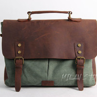 Unisex Superior Genuine Cow Leather Canvas Bag / Briefcase / Messenger Bag / Canvas Bag / Laptop Bag / Leather Satchel in Green
