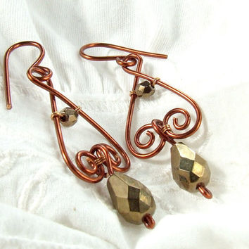 Bronze dangle earrings drop beads copper enameled wire wrapped jewelry