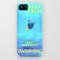 Keep Calm and Just Keep Swimming // Disney Pixar iPhone Case by -raminik design- FREE SHIPPINIG