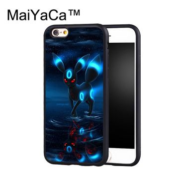 MaiYaCa RARE POKEMONS UMBREON Case for iphone 6 Plus Full Coverage Rubber Cover for iPhone 6s Plus Cases Capa Coque