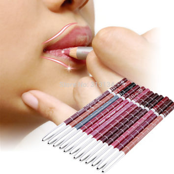 Professional Lipliner pencil Waterproof wooden blend Lip Liner Pencil 15CM 12 Colors Per Set Hot 2016 makeup lipstick tool