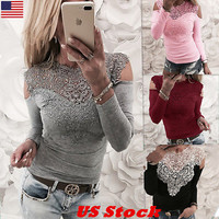 Women Sexy Solid Lace Cold Shoulder Long Sleeve Slim Blouse Top T-Shirt US Stock