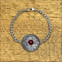 Wolf and Raven Coin in Stainless Steel Bezel on Stainless Steel Viking Braid Chain Bracelet