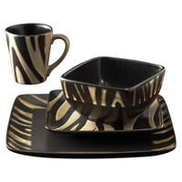 American Atelier Safari Zebra 16 Piece Dinnerware Set