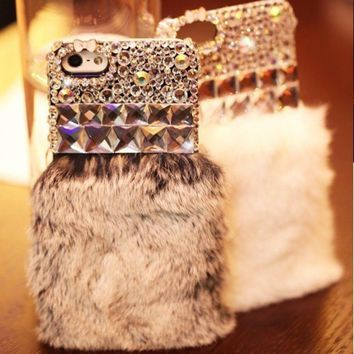 Bling Crystal Diamond Luxury Rabbit Fur Furry Warm Case Cover For Mobile Phones