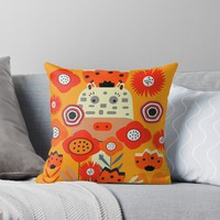 'Baby giraffe and little rabbits' Throw Pillow by cocodes