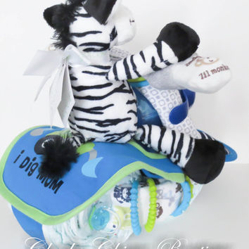 NEW Diaper Cake, Motorcycle Bike Diaper Cake, Baby Shower Gift, Centerpiece, Baby Cake, Baby Boy Gift, Zebra, Jungle