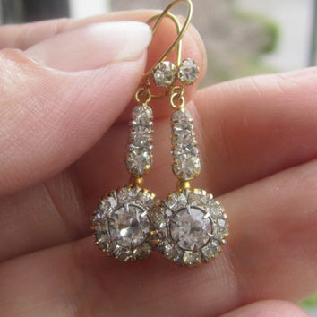 Antique Paste Diamond Earrings 9kt Gold Bridal Wedding Jewelry Victorian Reproduction Pendant Earrings