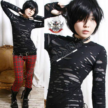 RTBU UNISEX Black Goth Punk Mummy RAG HOLE Top+Mitten L