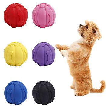 Dog Puppy Silicone Squeaky Sound Ball Pet Chewing Bite Interactive Play Toy