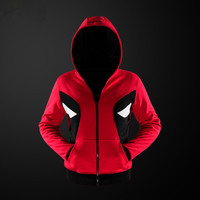 Men Deadpool Cosplay Superhero Fleece Hoodie Clothing Zipper Jacket Coat
