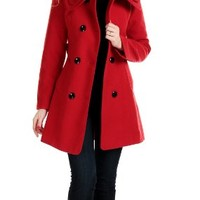 CHAREX Women Wool Blended Coat Slim Collar Belted Button Winter Outwear Long Jacket Red M