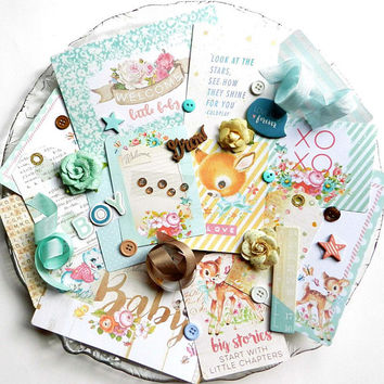 Embellishment Kit / Baby Boy / Prima Heaven Sent 2 / Baby Scrapbook Album / Scrapbook / Inspiration Kit / Baby Scrapbook / Baby Album