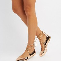 Metallic Lace-Up Ballet Flats
